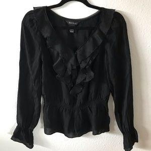Silk ruffle blouse black longboard sleeve pirate